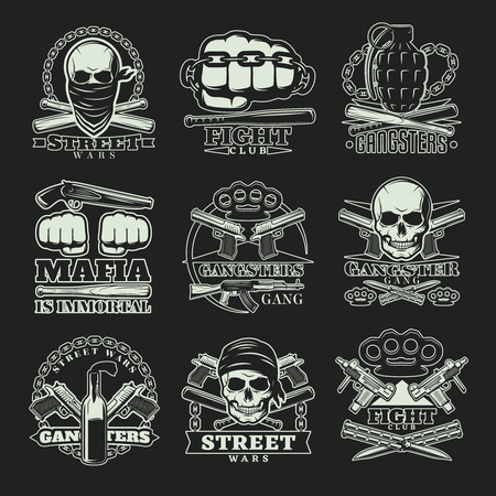 Nine emblems set with gangsters and mafia street wars symbolics weapons skulls knuckle duster and captions illustration