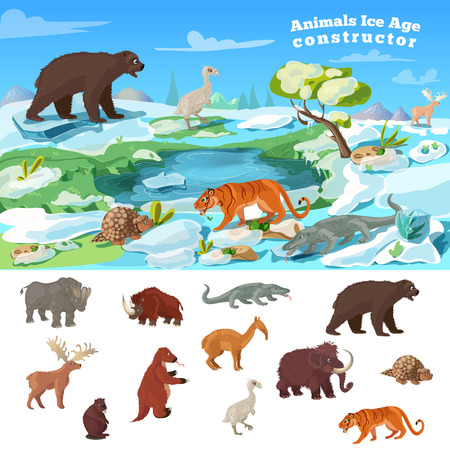 woolly: Animals ice age concept with wildlife design and set of beasts of prehistoric period isolated illustration