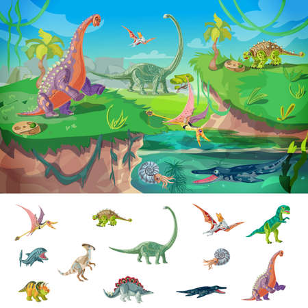 Animals jurassic concept with wildlife design and set of birds dinosaurs and underwater beasts isolated illustration Illustration