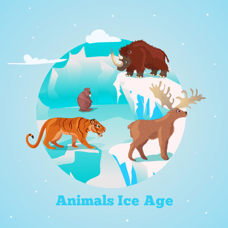 saber tooth: Beasts ice age round design with rhino tiger and deer giant beaver in frozen wildlife illustration