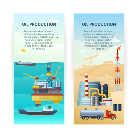 Two isolated vertical banners with sea and desert industrial cartoon scenery and decorative technics symbols flat illustration