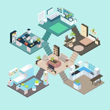 Isometrische kamersamenstelling op verschillende verdiepingen met trappen in elke kamer geïntegreerd in de woonkamerillustratie