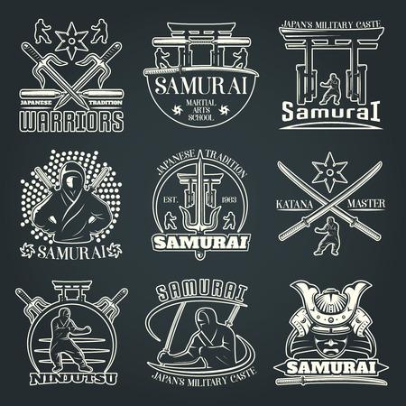 katana: Isolated martial arts emblems on dark background with kimono and torii symbols katana and ninjitsu flat illustration
