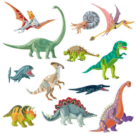 pterodactyl: Jurassic period animals set with pterodactyl tyrannosaurus and brachiosaurus ancient conch and giant fishes isolated illustration