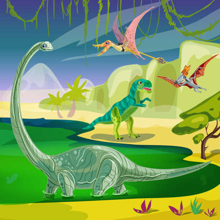 pterodactyl: Animals jurassic composition with flying pterodactyl tyrannosaurus at coast and brachiosaurus standing in green water illustration