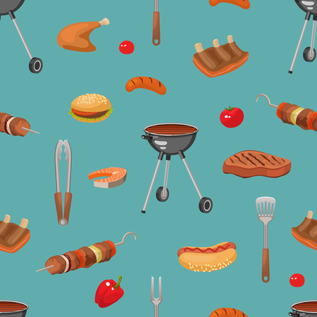 Bbq pattern with cartoon style barbecue food burgers sausages grill fork turner colorful isolated symbols illustration
