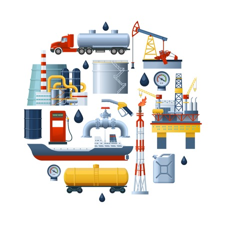 Round composition with isolated oil industry elements of extraction processing and fuel transportation on blank background illustration