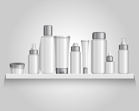 formulations: Composition with packaging plastic tubes of different size and shape for various cosmetic formulations with shadows illustration
