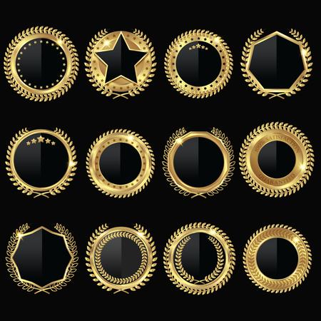 sleek: Stylish medal style labels set with golden round medal garland and sleek centerpiece on black background illustration