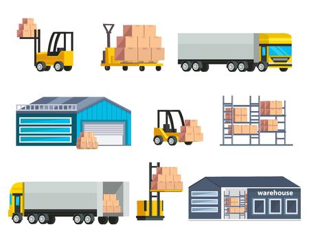 forklifts: Warehouse logistics elements set with storage buildings cargo at forklifts and shelves huge trucks isolated illustration Illustration