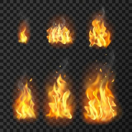 Set of realistic fire flames of various size with sparks on transparent background isolated illustration