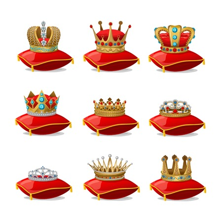 red pillows: Isolated colored realistic crowns on red pillows icon set with shadows and lights illustration Illustration