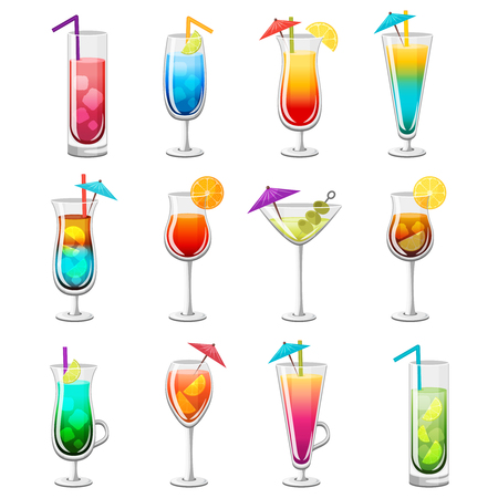 Set of classic alcohol cocktails in glasses with slices of fruits straw and umbrella isolated illustration Illustration