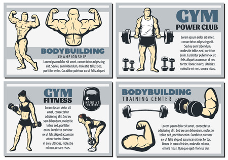 Four horizontal and isolated vintage body building banner set with gym power club and other headlines illustration Ilustração