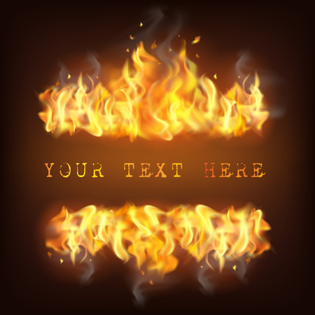 Realistic fire flame with reflection sparkles and place for text on black background illustration