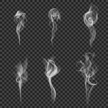 Set of realistic images with six cigarette smoke shape white haze on dark transparent background illustration