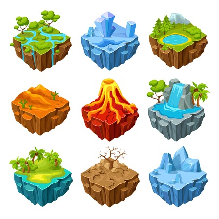 Islands of computer game isometric set with drought trees and mountains volcano and waterfall isolated illustration 일러스트