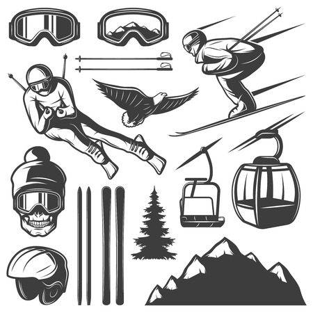 slope: Isolated monochrome skiing elements set in vintage style with gear and skier figures on blank background illustration Illustration