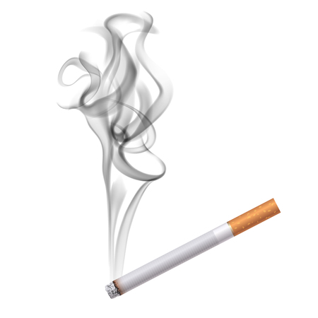 Realistic burning cigarette in classic paper image with half transparent blurry dark smoke on blank background illustration