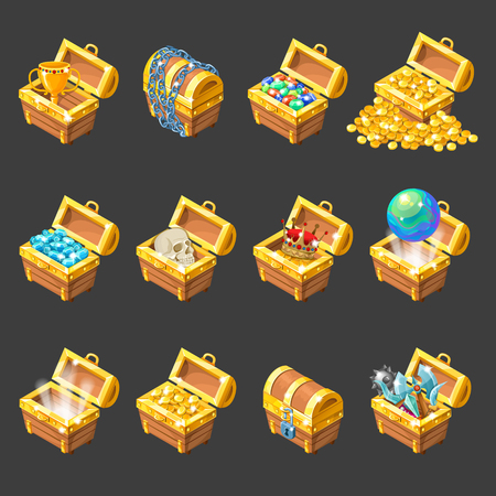 Treasure chests isometric cartoon set with golden coins jewelry medieval weapon on black background isolated illustration Illustration