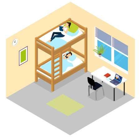 bunk bed: Student room isometric composition in dormitory with bunk bed where students are sleeping illustration