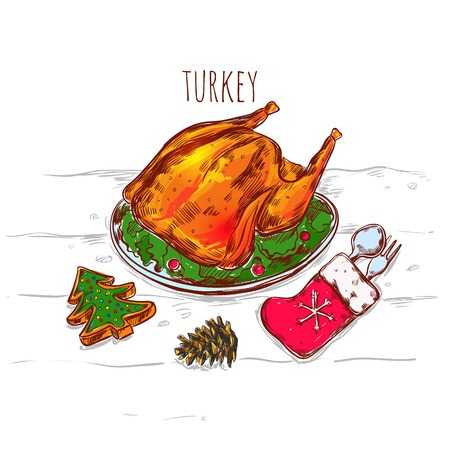 flatware: Drawn christmas sketch image of grilled turkey on plate with flatware in mitten and decorative accessories illustration