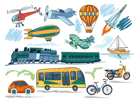 sea transport: Hand drawn transport icon set with vehicles to travel by land, sea and air illustration Illustration