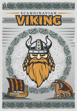 Viking vintage poster with face of Scandinavian Viking and his reg beard illustration Illustration