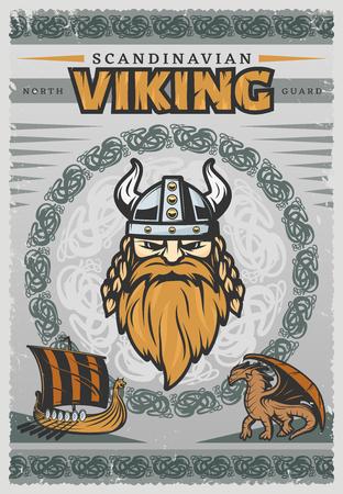 reg: Viking vintage poster with face of Scandinavian Viking and his reg beard illustration Illustration