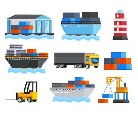 depot: Sea port orthogonal icons set with ships and truck lighthouse depot and freight loader isolated illustration Illustration