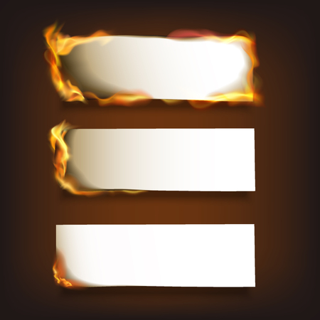 burning paper: Burning blank paper sheets set with various degree of ignition on black background isolated illustration