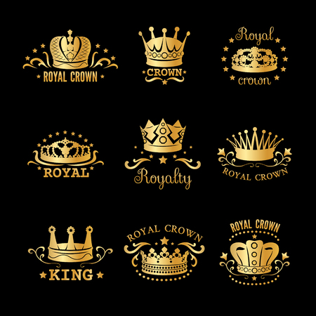 Golden crown set with different headlines royal crown king royalty par example illustration