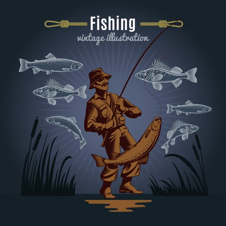 fisher: Fishing vintage decorative icons composition with drawn style fishes reeds and fisher character on dark background illustration