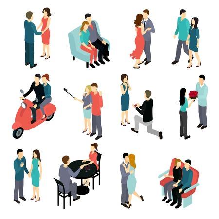 様々 な状況民間隔離された図で若い男性と女性の愛情のあるカップル等尺性設定します。