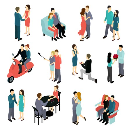Loving couples isometric set with young men and women in various private situations isolated illustration