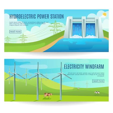 hydroelectric power station: Two horizontal ecology banners with environmental friendly hydroelectric power station