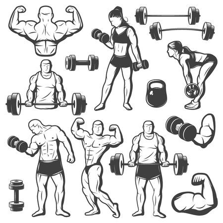 Nero isolato body building epoca set di icone con le donne e gli uomini a fare le esercitazioni di sport con bilanciere illustrazione