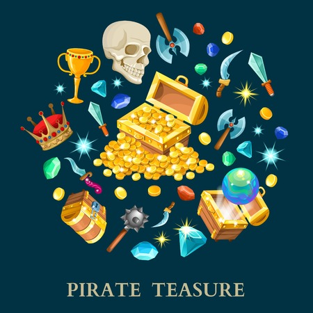 Pirate treasure isometric icons set with chest golden coins gems weapon on black background isolated illustration