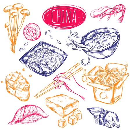 fried noodles: Chinese oriental cuisine elements set in hand drawn sketch style with various dishes and ripe products illustration Illustration