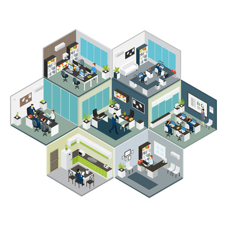 3d colored isometric office on different floors composition looks like bee honeycomb illustration