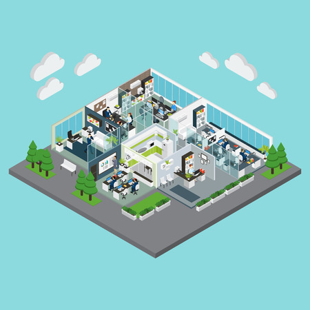 Colored layout of office isometric composition with green trees around and parking zone illustration