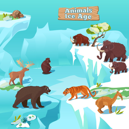 saber tooth: Animals ice age composition with tiger bear beaver mammoth and deer on frozen nature background illustration