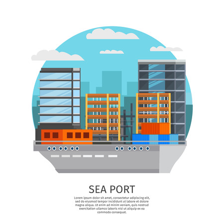 facilities: Sea port round design with barge and storage facilities on city buildings background orthogonal illustration