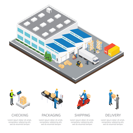 Warehouse isometric colored composition with checking packaging shipping and delivery descriptions illustration