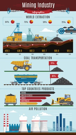 web crawler: Colorful mining infographics with extraction diagrams with coil transportation pollution decorative symbols editable graphics and captions illustration Illustration