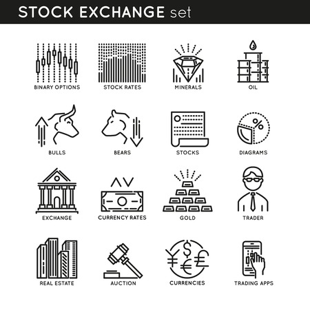 stock trader: Stock exchange monochrome linear icons with oil gold and minerals trader auction and currencies isolated illustration