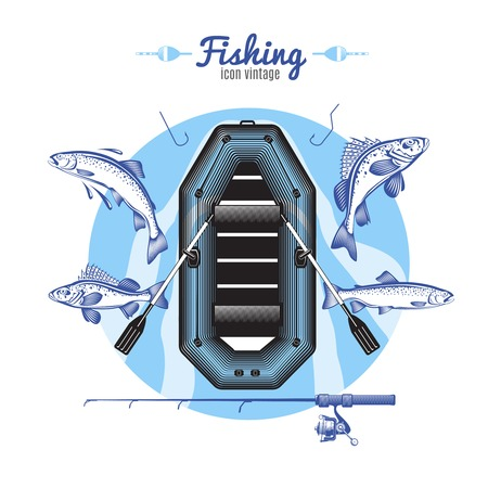 Vintage fishing icons colorful round composition with air boat fishes tackle symbols and editable title text vector illustration