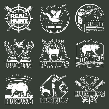 hunters: Set of nine isolated hunting emblems with wild animals and birds symbols hunters figures and trophy vector illustration Illustration