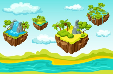 Computer game level including hanging islands with various sceneries on natural landscape background isometric template vector illustration