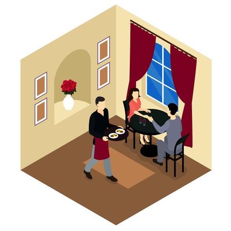 pareja comiendo: Pares del amor en el restaurante composición isométrica sentado en una mesa en la ilustración romántica atmósfera